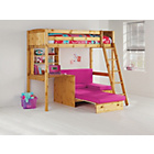 more details on Classic High Sleeper with Fuchsia Sofa Bed Frame - Pine.