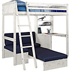 more details on Classic High Sleeper Bed with Blue Sofa Bed - White Wash.