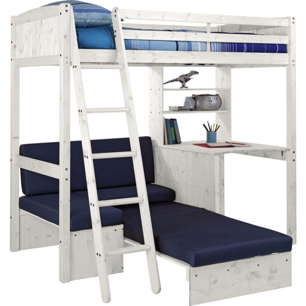 Buy Classic High Sleeper Bed With Blue Sofa Bed White
