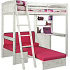 more details on Classic High Sleeper Bed Frame with Fuchsia Sofa Bed- White.