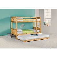 Detachable Single Bunk Bed Frame with Trundle (Pine)
