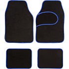 more details on Set of 4 Car Mats - Black with Blue Trim.