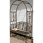 more details on Ornamental Garden Steel Arch & Bench - Brown.
