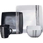 more details on 16 Piece Scratch Stoneware Dinner Set - Black and White.