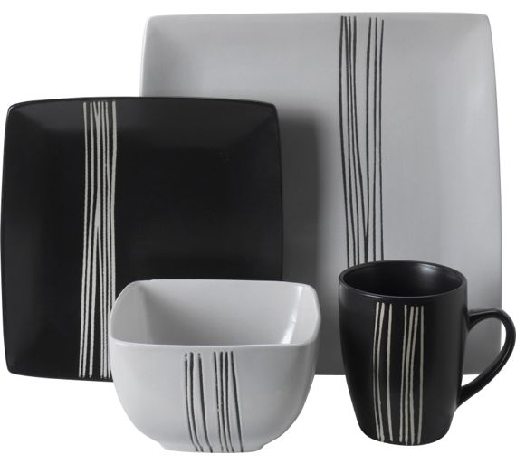 Buy HOME 16 Piece Scratch Stoneware Dinner Set - Black and ...