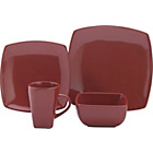 more details on 16 Piece Bosa Square Stoneware Dinner Set - Red.