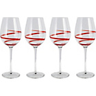 more details on Living 4 Piece Swirl Wine Glass Set - Red.