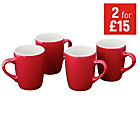 more details on ColourMatch Two-Tone 4 Piece Mug Set - Poppy Red.