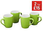more details on ColourMatch Two-Tone 4 Piece Mug Set - Apple Green.