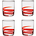 more details on 4 Piece Swirl Glass Set - Red Tumbler Glasses.
