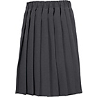 more details on Girls' Grey Pleated School Skirt Stretch Waist.