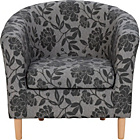 more details on HOME Floral Fabric Tub Chair - Charcoal.