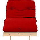 more details on Single Pine Futon Sofa Bed with Mattress - Red.