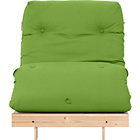more details on Single Pine Futon Sofa Bed with Mattress - Green.
