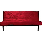 more details on Clive Black Metal Futon Sofa Bed with Mattress - Red.