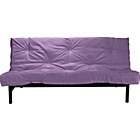 more details on Clive Black Metal Futon Sofa Bed with Mattress - Aubergine.
