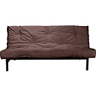 more details on Clive Black Metal Futon Sofa Bed with Mattress - Chocolate.