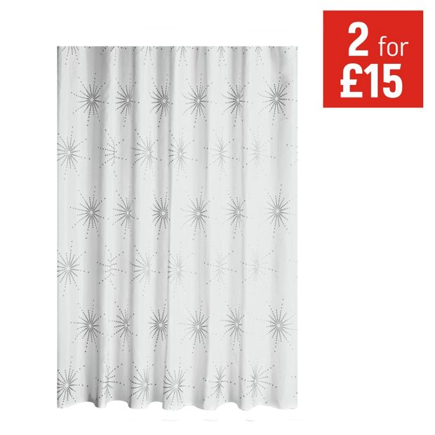 Buy home starburst shower curtain white at for Bathroom accessories argos