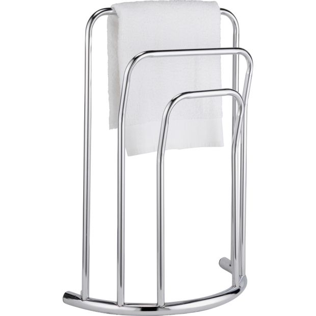 Buy home curved 3 bar towel rail chrome at for Bathroom accessories argos