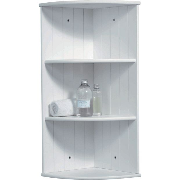 Buy home tongue and groove corner shelves white at argos - White bathroom corner shelf unit ...