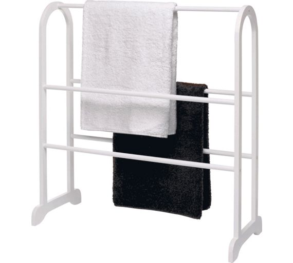 Buy home contemporary wooden towel stand white at argos for Bathroom accessories argos