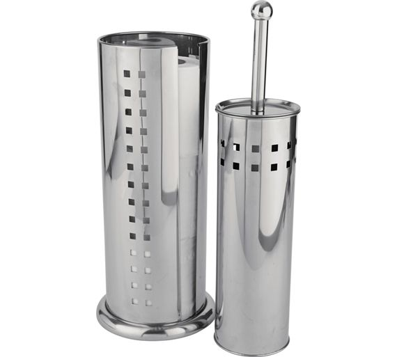 Buy home toilet brush and roll holder stainless steel at for Bathroom accessories argos