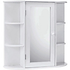 more details on HOME Mirrored Bathroom Cabinet with Shelves - White.