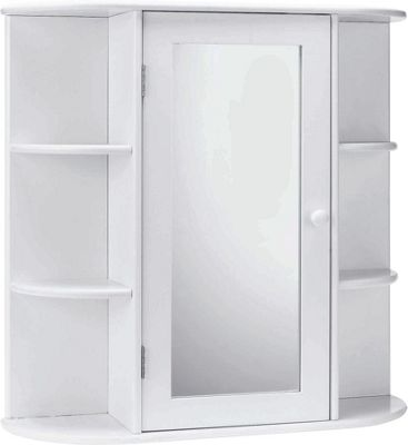 buy home mirrored bathroom cabinet with shelves white at