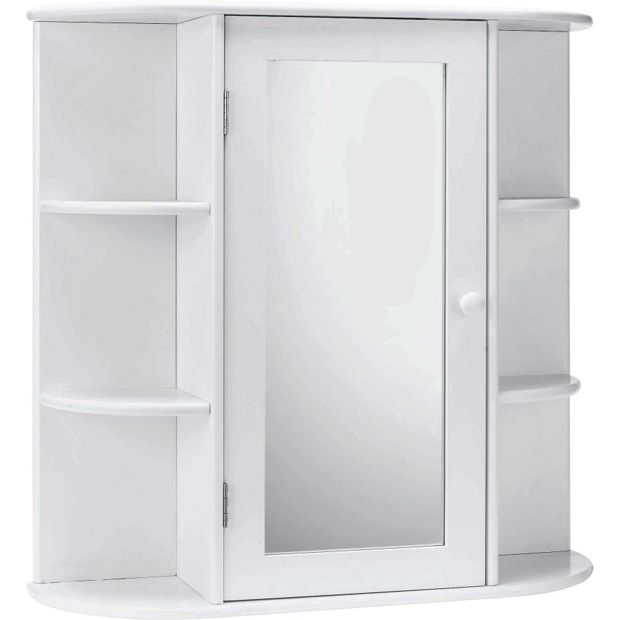 buy home mirrored bathroom cabinet with shelves white at. Black Bedroom Furniture Sets. Home Design Ideas