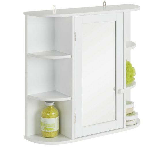 Buy home mirrored bathroom cabinet with shelves white at for Argos kitchen cabinets