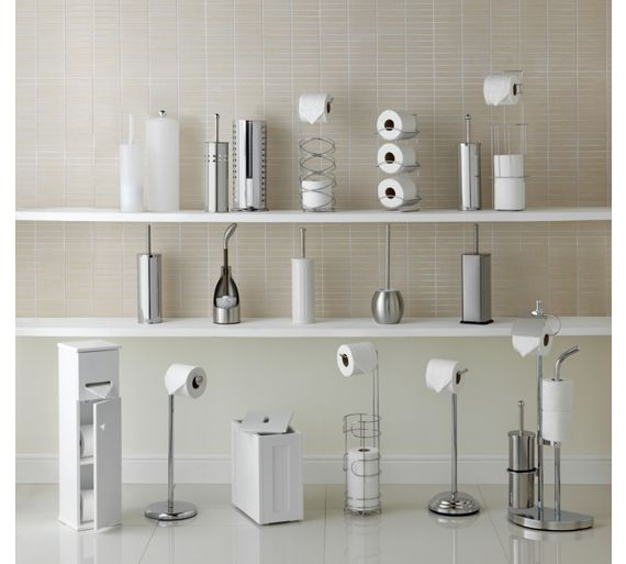Buy simple value toilet brush and roll holder white at for Bathroom accessories argos