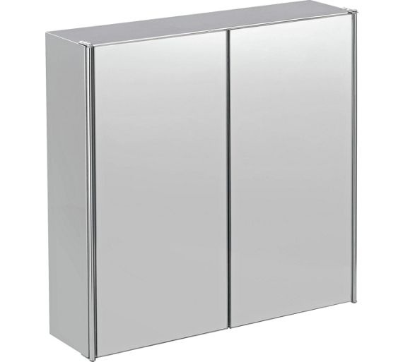 Buy home double door mirrored bathroom cabinet stainless for Argos kitchen cabinets