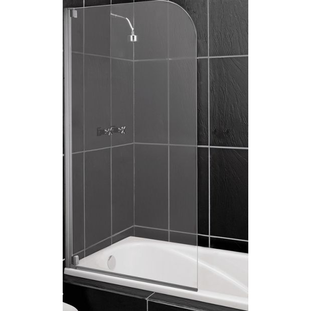 buy home half framed radius clear silver shower screen at