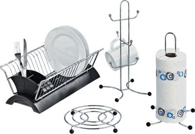 Buy HOME Set Of 4 Black And Chrome Kitchen Accessories At