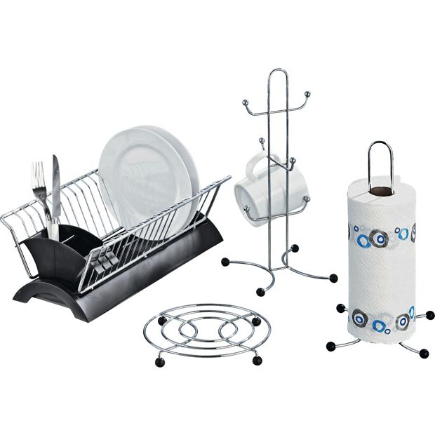 Kitchen Set Online Shopping: Buy HOME Set Of 4 Black And Chrome Kitchen Accessories At