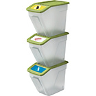 more details on HOME 34 Litre Plastic Recycling Bins - Set of 3.