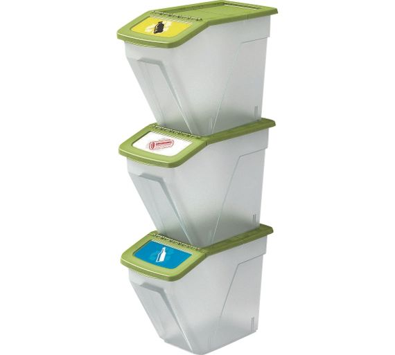 Buy Home 34 Litre Plastic Recycling Bins Set Of 3 At