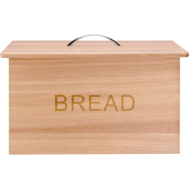 buy home oslo traditional wooden bread bin with chrome. Black Bedroom Furniture Sets. Home Design Ideas