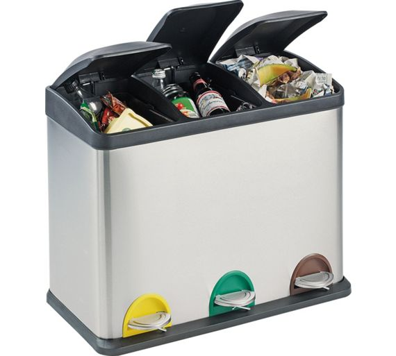 Buy home 45 litre recycling pedal bin with 3 compartments at your online shop for - Recycle containers for home use ...
