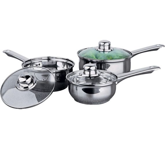 Buy home stainless steel 3 piece pan set at for Kitchen set argos
