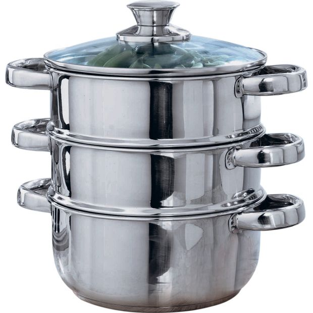 Buy home 18cm stainless steel 3 tier steamer at for Kitchen set argos