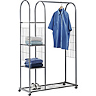 more details on Clothes Rail with Shelves and Shoe Rack - Silver.