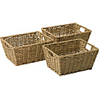 more details on HOME Set of 3 Seagrass Storage Baskets - Natural.