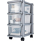 more details on 3 Drawer Slim Tower Plastic Storage Unit - Silver.