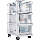 more details on HOME 3 Drawer Slim Tower Plastic Storage Unit - White.