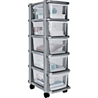 more details on HOME 5 Drawer Plastic Slim Tower Storage Unit - Silver.
