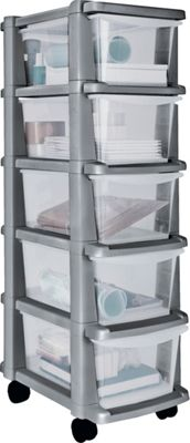 Buy HOME 5 Drawer Plastic Slim Tower Storage Unit - Silver at Argos.co ...