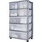 more details on 7 Drawer Plastic Wide Tower Storage Unit - Silver.