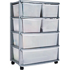 more details on HOME 6 Drawer Plastic Wide Storage Tower Unit - Silver.
