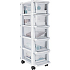 more details on HOME 5 Drawer Plastic Slim Tower - White.